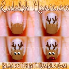 Easy And Cute! Rudolph Manicure Tutorial!