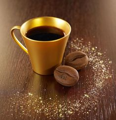 gold cup of coffee