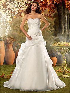 A-line Princess Sweetheart Court Train Organza Wedding Dress... – USD $ 249.99