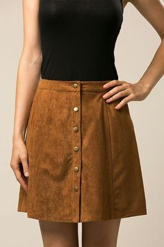 "- Details - Size - Shipping - Polyester - Fully lined - Button snap closures down centre front - High-waisted - Suede - Pockets - Fits true to size - Length: approx. 17"" - Waistband: approx. 29"" - Mea"