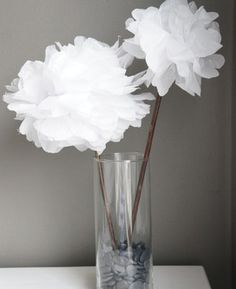 DIY Tissue Paper Flowers- perfect for girls bedroom to hang or baby mobile. Great tutorial