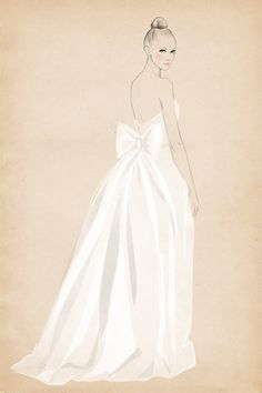 full length at Matha Stewart Weddings by Sandra Suy - Pencil, Watercolor illustration. Fashion, Beauty