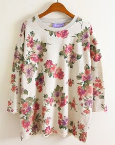 Beige Long Sleeve Floral Pattern Loose Sweatshirt - Sheinside.com