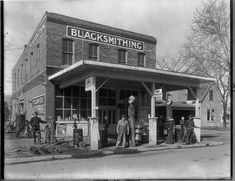 First filling stations were usually at Blacksmith shops. Vintage gas station.