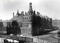 This photograph is of the second location for the Manchester Central Grammar School for Boys, and still stands (2014) at the junction of Whitworth Street and Sackville Street, Manchester. Even after the 'new' school was opened at Kirkmanshulme Lane, Longsight, Manchester in 1958/1959, First Year students still attended this building.