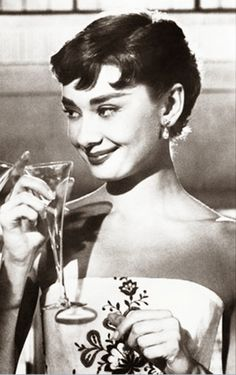 """Audrey Hepburn in """"Sabrina"""" dir. Audrey Hepburn Photos, Audrey Hepburn Style, Lauren Bacall, Marlene Dietrich, Divas, Sabrina 1954, Artist Film, Champagne, Woman Wine"""