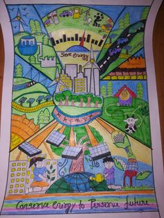 Draw by kanak bhagat on energy conservation Drawing Competition Topics, Painting Competition, Earth Day Drawing, Earth Drawings, Indian Art Paintings, Modern Art Paintings, Energy Conservation Poster, Save Environment Posters, Save Water Poster Drawing