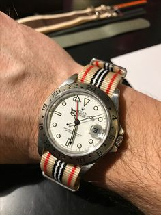 Rolex Explorer II Polar 16570 Red White and Blue NATO strap