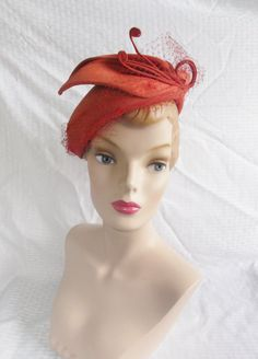 40's 50's Vintage Orange Straw Hat with by MyVintageHatShop, $52.00