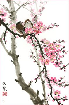 Peggy Duke Love Birds on the Cherry Blossom Tree - White Background, Giclee Print, Flower Picture of Two Birds Perching on a Branch, 12 X 20 Inches Japanese Painting, Chinese Painting, Chinese Art, Cherry Blossom Painting, Peony Painting, Art Asiatique, Blossom Trees, Cherry Blossoms, Japan Art