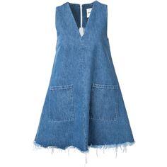 Sandy Liang Doris Denim Dress (3.470 NOK) ❤ liked on Polyvore featuring dresses, all dresses, kirna zabete, blue denim dress, blue dress and denim dress