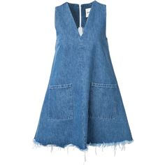 Sandy Liang Doris Denim Dress ($425) ❤ liked on Polyvore featuring dresses, all dresses, kirna zabete, blue denim dress, denim dress and blue dress