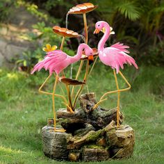 Polyresin/Metal 2 Flamingo Water Fountain by Jeco Inc. Rock Fountain, Cat Fountain, Waterfall Fountain, Flamingo Garden, Flamingo Art, Pink Flamingos, Indoor Water Fountains, Garden Fountains, Cascade Water