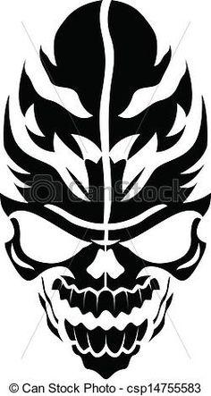 Vector of Tribal Vector Skull - Drawing Art of Cartoon Scary Tattoo . Scary Tattoos, Flame Tattoos, Cartoon Tattoos, Skull Tattoos, Body Art Tattoos, Tattoo Drawings, Art Drawings, Drawing Art, Silouette Art