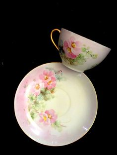 """AUSTRIAN Royal China -- Pastel Pink """"Floribunda"""" Roses on a Vintage Cup and Saucer Set, Lustrous Opalescent Inside, with Lush Gold Trim"""