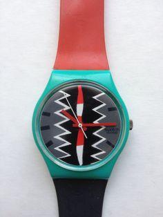 Vintage 80s color block Aztec swatch watch by nanapatproject, $48.00