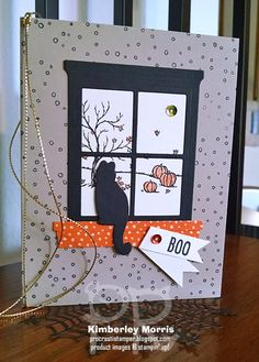 procrastistamper: Meowl-o-ween Happy Scenes Card. Click through for supplies and a couple of tips.