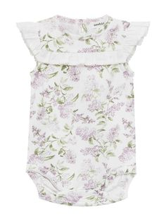 In this season's gorgeous botanical floral pattern, this baby bodysuit is perfect for little summer adventures. Designed with contrast white frilly trims and poppers on the bottom for easy changing. Team with a cute cardigan and leggings to complete the look. ### Small Newbie label Frilly trims Fabric: 95% Cotton, 5% E