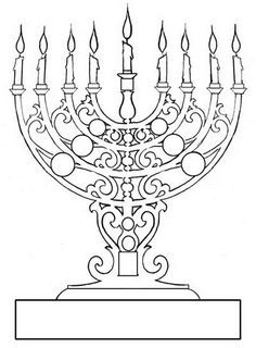 coloring page of menorah