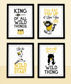 SALE! Where The Wild Things Are - Wild Rumpus & Eat You Up Love You So - 4 Poster Prints 8.5x11-Baby Child Kid Nursery Room Decoration Party