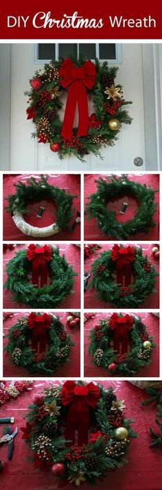 Homemade Christmas Wreath. Welcome the cheerful Christmas season with a handmade wreath on your front door! Suoer fun and easy to make with simple supplies!