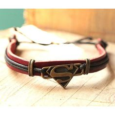 Superman Bracelet Leather Bracelet-Gift for Him by ElsternJewelry