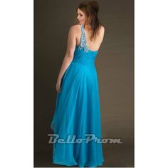 Beaded One Shoulder Chiffon Plus Size Dress A1461 at belloprom.com