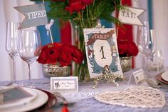 20 DIY Alice in Wonderland Tea Party Wedding Ideas | Confetti Daydreams - Consider decor stationary such as this vintage Alice in Wonderland DIY wedding & party printable decor set in red, white and blue