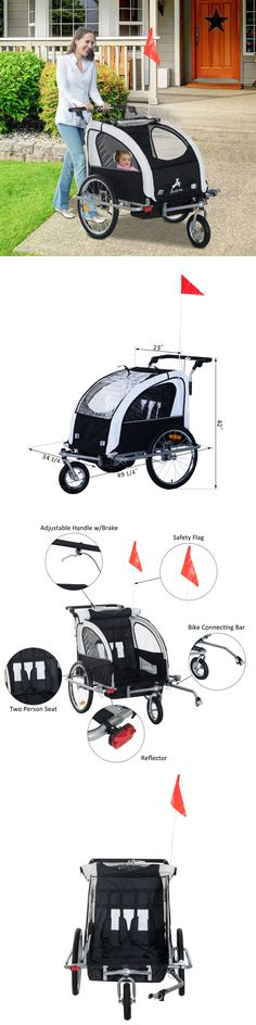 Trailers 85040: Aosom 3In1 Double Child Baby Bike Bicycle Trailer Stroller Jogger - Black White -> BUY IT NOW ONLY: $209.99 on eBay!