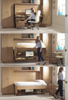 Fold-away-study-bed. Designer: StudyBed. http://www.home-designing.com/2014/05/30-inspirational-home-office-desks
