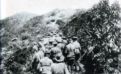 Anzacs hauling up a hill the only 18 pound field gun landed on 25th April, 1915