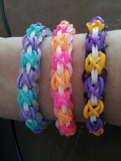 Laced up Rainbow Loom bracelets!  Followed the original design on youtube by tutorialsbyA.