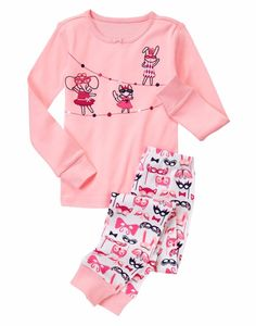 Gymboree Girls Size 7 Pink Animal Masquerade Cotton Long Sleeve Pajama Set NWT  #Gymboree #PajamaSet