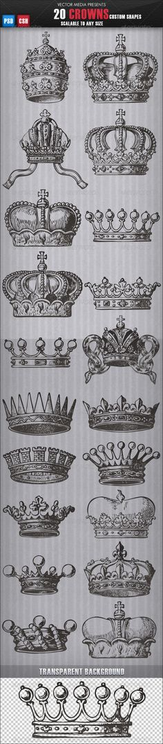 Buy 20 Crowns - Custom Shapes by VectorMedia on GraphicRiver. 20 Crowns – Custom Shapes Features: PSD, CSH Files included 10 Shapes in one CSH file Scalable to any size Don't forg. Tattoo Dotwork, Tattoo Henna, Desenho Tattoo, Neue Tattoos, Body Art Tattoos, Tattoo Drawings, Tatoos, Rosary Tattoos, Bow Tattoos