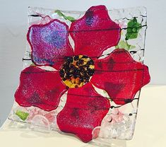 Garden Poppy Dish 5x5 by Laura Johnson Fused Glass ~ 5 x 5