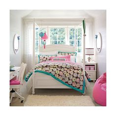 Beautiful Pink Teen Room for Girls Design - Darlington Chelsea Bedroom by PB Teen | BUILDING, HOME, INTERIOR DESIGN, ARCHITECTURE, DECORATION, LANDSCAPE, EXTERIOR DESIGN found on Polyvore