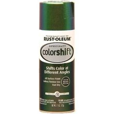 How cool is this??  RustOleum  ColorShift Paint - Gamma Green  also in Galaxy Blue! This paint has light interference pigments that change color depending on the light source. So as you move your painted  object around  you see a rainbow of colors catching the light! AWESOME  to spray on your kid's bikes, helmets, running boards, rims, skateboards.  Can be used on wood, metal and plastic - let your imagination go wild!  www.hardwareworld.com