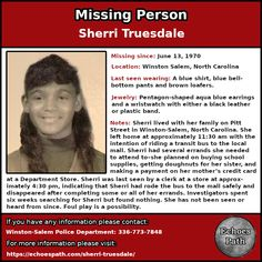 Sherri #disappeared from #WinstonSalem, #NorthCarolina  in #1970.  #Missing #MissingPerson #Crime #TrueCrime #TrueCrimeCommunity #PodernFamily #Unsolved #UnsolvedMysteries #Mystery #ColdCase #EchoesPath Brown Loafers, Missing Persons, Winston Salem, Cold Case, Bell Bottom Pants, Blue Earrings, True Crime, Aqua Blue, Flyers