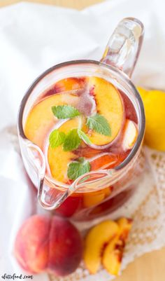 This easy homemade iced tea recipe is filled with fresh peaches, sweet…