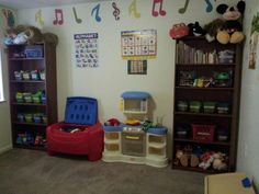 Toy organization in under $50! I bought two bookshelves from Walmart on sale and the bins from Dollar tree!!