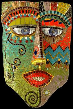 """""""Mask Giordano"""" - by Irina Charny. Please ask her permission before pinning. Her website is http://www.icmosaics.com"""