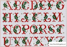 Fab for personalised stocking Christmas Cross Stitch Alphabet, Monogram Cross Stitch, Cross Stitch Alphabet Patterns, Cross Stitch Christmas Stockings, Embroidery Alphabet, Xmas Cross Stitch, Cross Stitch Samplers, Cross Stitch Charts, Cross Stitch Designs