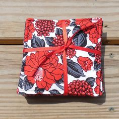 Drink Coasters Red Black Floral Fabric Coasters Cotton Fabric