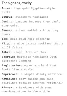 The Signs as Jewelry | We Heart It I have my bracelets sooo...