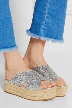 Espadrille sole measures approximately 45mm/ 2 inche Silver glittered leather Slip on Made in Italy