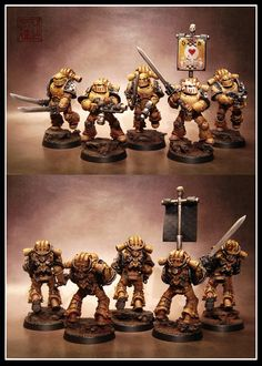 Superbly converted miniatures that make use of FW MkIII, Grey Knight and Tactical Marine kits. Finished off with a stunning paint job.