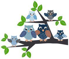 Muursticker Uiltjesfamilie op tak blauw, 2 formaten
