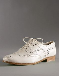 Leather Lace Up Flat Brogue Shoes with Insolia Flex® Clothing