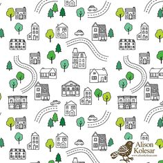 A playful & cute map pattern by Pattern Camper & Surface Pattern Designer Alison Kolesar.