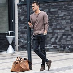 Henley neck top and skinny jeans + boots. Sexy casual style. ❤️ #menstyle #menswear #mensfashion (Source: Cool Cosmos)